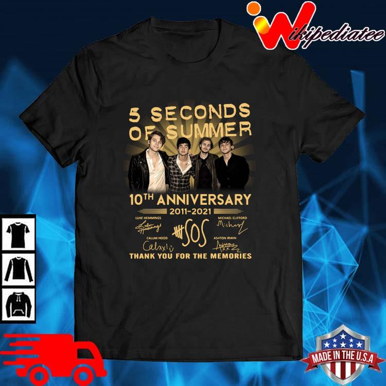 5 Seconds Of Summer 10th Anniversary 2011 2021 Signatures Thank You Shirt