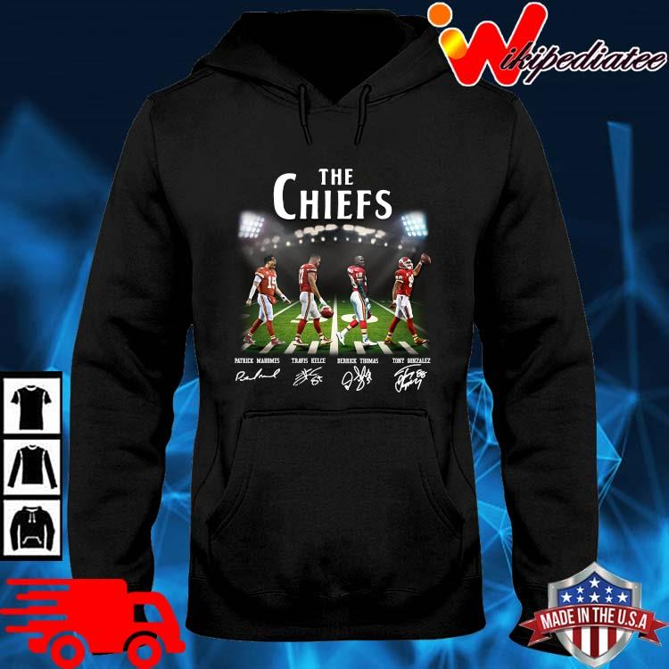 The Chiefs Abbey Road Patrick Mahomes Travis Kelce signatures hoodie den