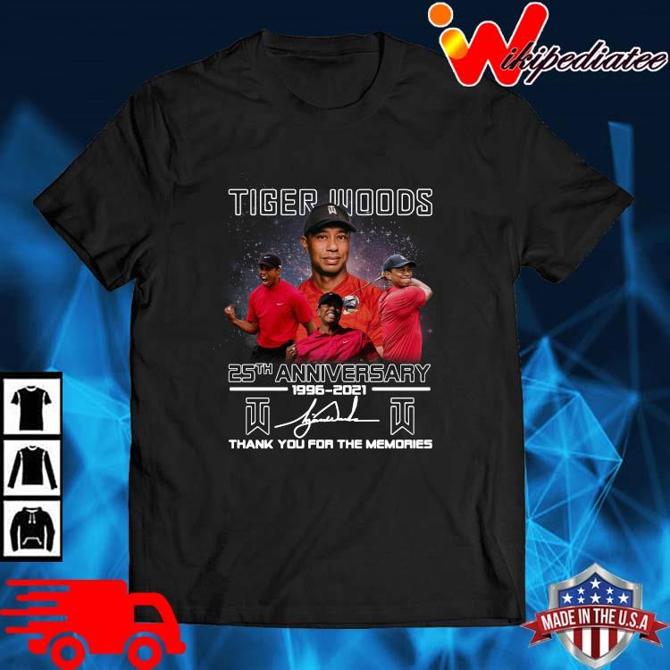 Tiger Woods 25th Anniversary 1996 2021 Signatures Thank You Shirt